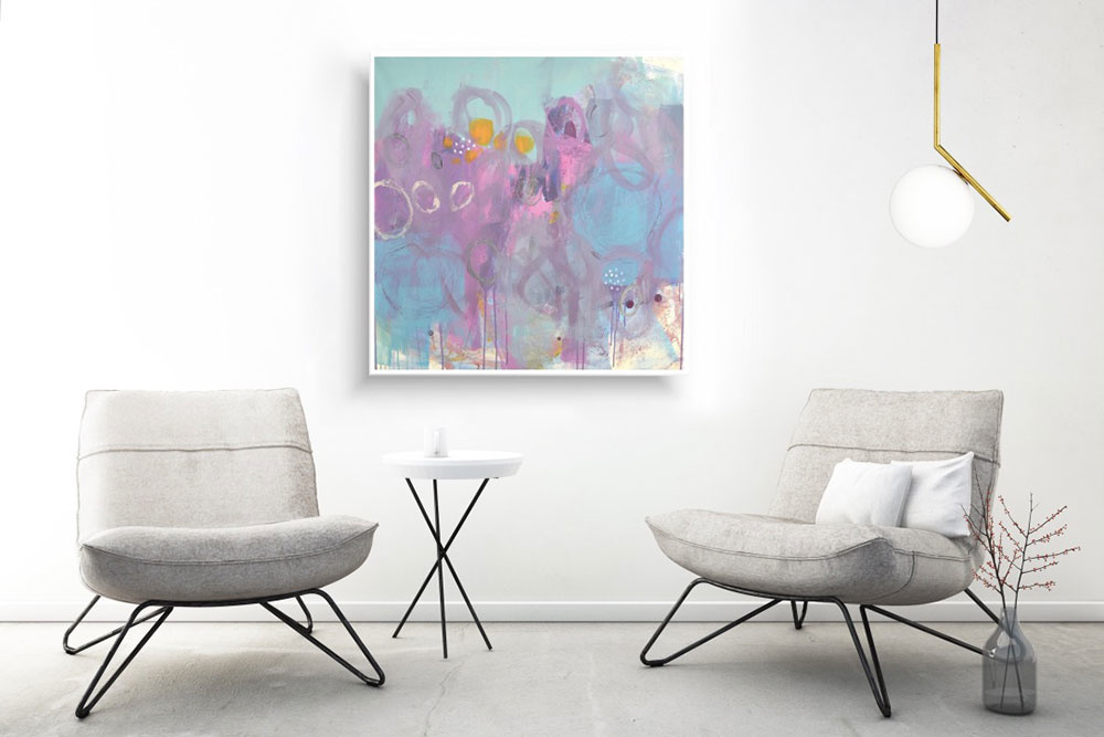 Ručne maľovaný abstraktný obraz, 90x90cm, robene.sk