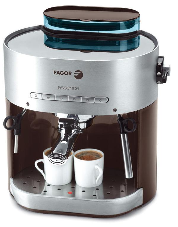 Espresso kávovar Fagor CR-22 Essence vhliníkovej farbe spriehľadná modrou nádržkou na vodu (1,5 litra).