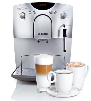 Plne automatický kávovar Bosch TCA 5601 benvenuto classic stlakom 15 bar/termoblok. Systém sparenia kávy, funkcia na jednoduché čistenie, nastaviteľný mlynček ztvrdenej ocele so zásobníkom, plniaci otvor na mletú kávu, dva procesy sparenia pri príprave dvoch šálok kávy,