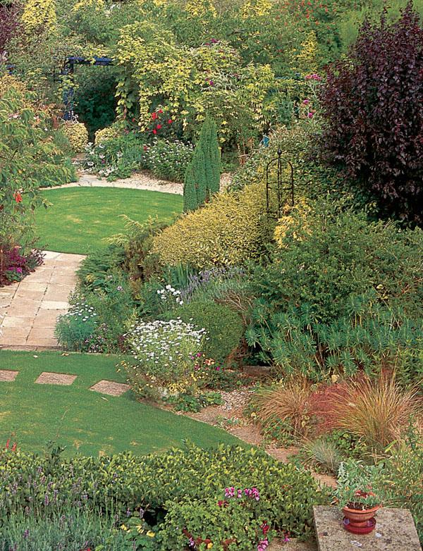 Záhrada na kopci: alebo svahy, kvitnúce múriky a skalky