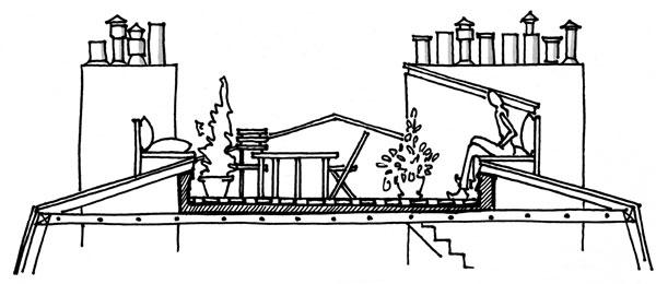 Terasa, balkón a lodžia v šikmej streche