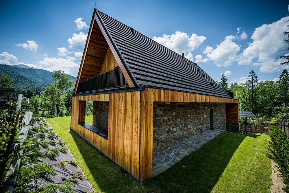chata v Tatrách obložená drevom