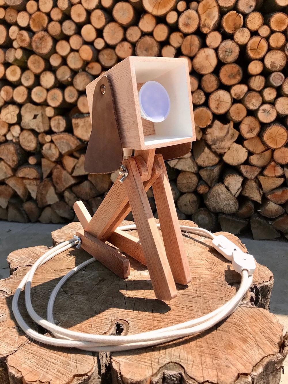 Lampa Woody z recyklovaného dreva, robene.sk