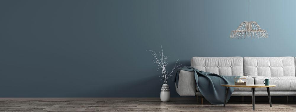 modrá farba steny v interiéri