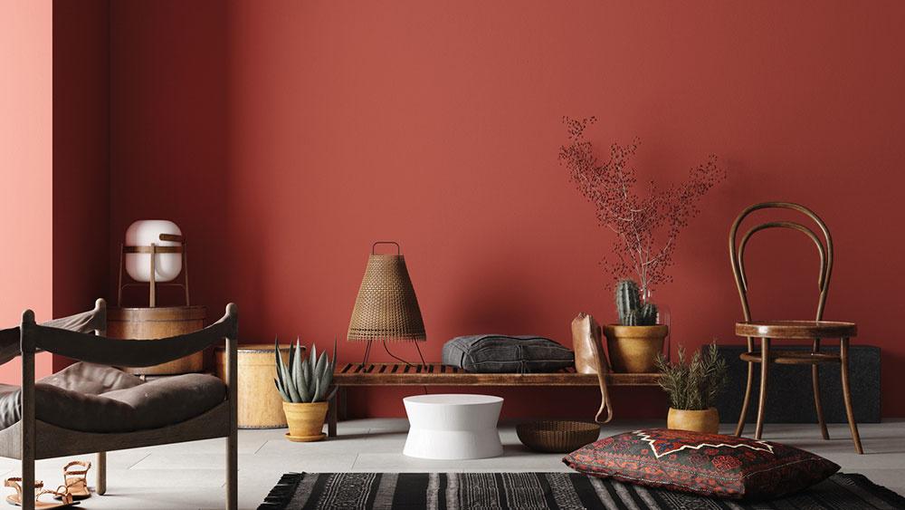 Červená s nádychom bordovej v interiéri