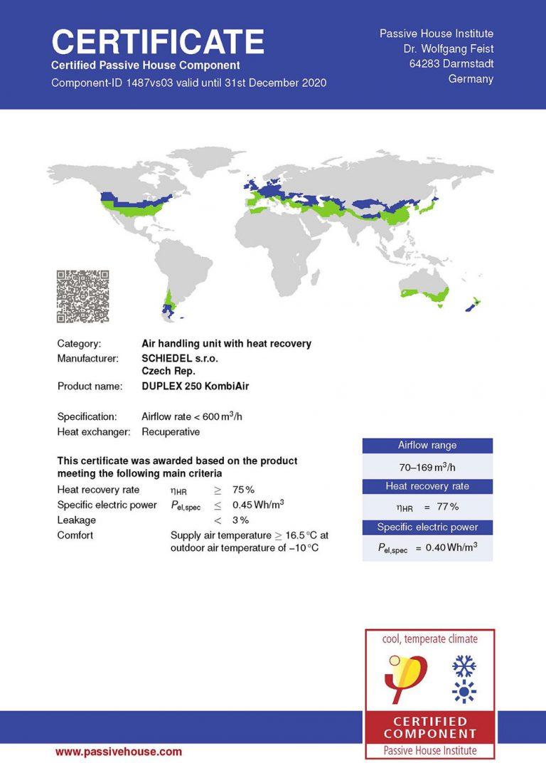 KOMBIAIR – rekuperačná jednotka pre zdravý spánok s certifikátom od PHI