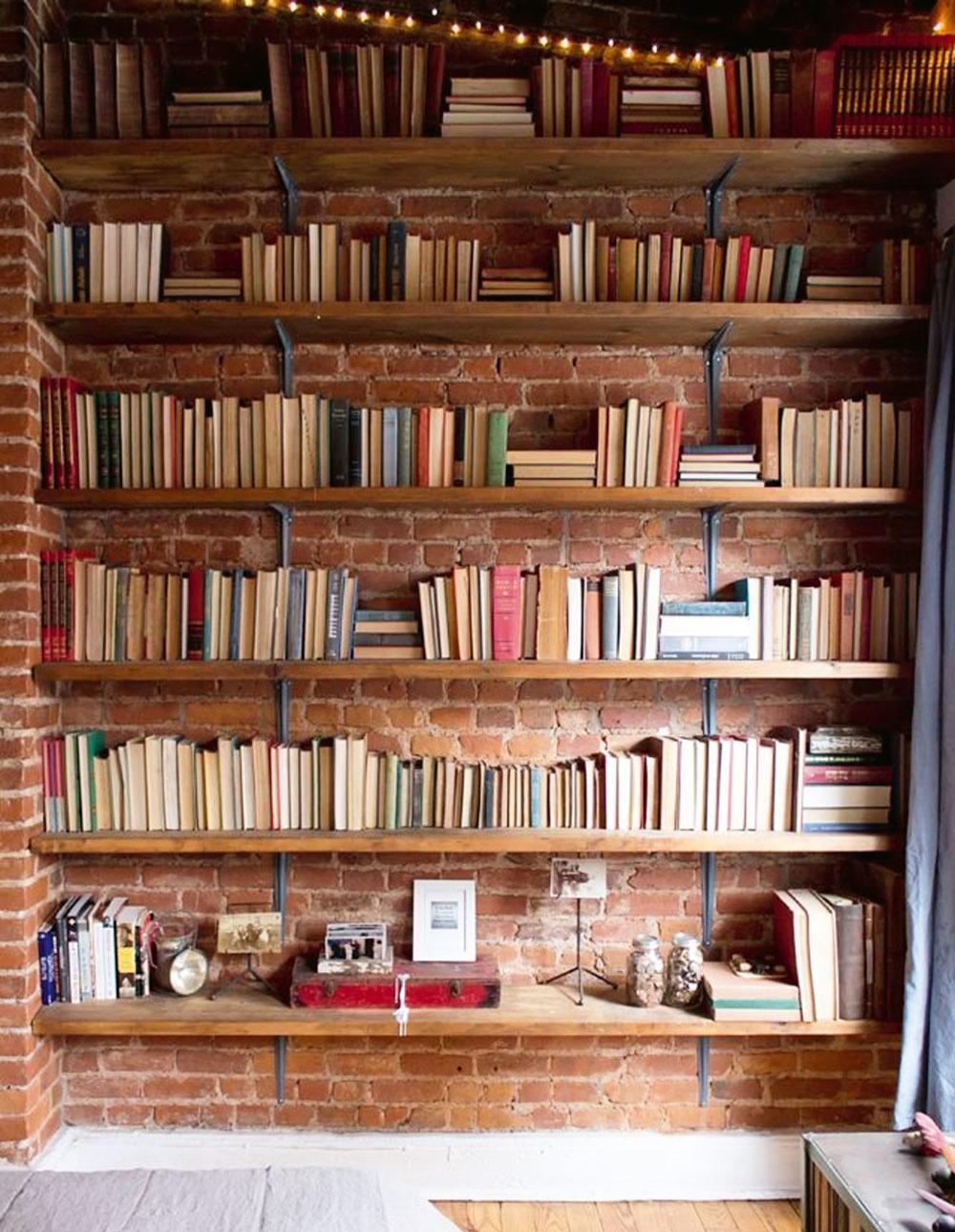 terakotová tehla v knižnici