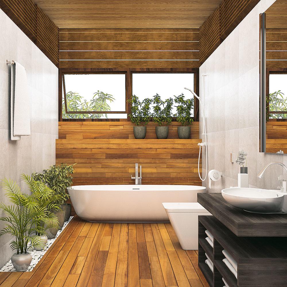 Drevený strop patrí aj do súčasných interiérov, dokonca aj do kúpeľne. Jednoducho vyberte dreviny, ktoré znesú vlhkosť, napríklad tropické dreviny wenge, tík alebo jatoba.