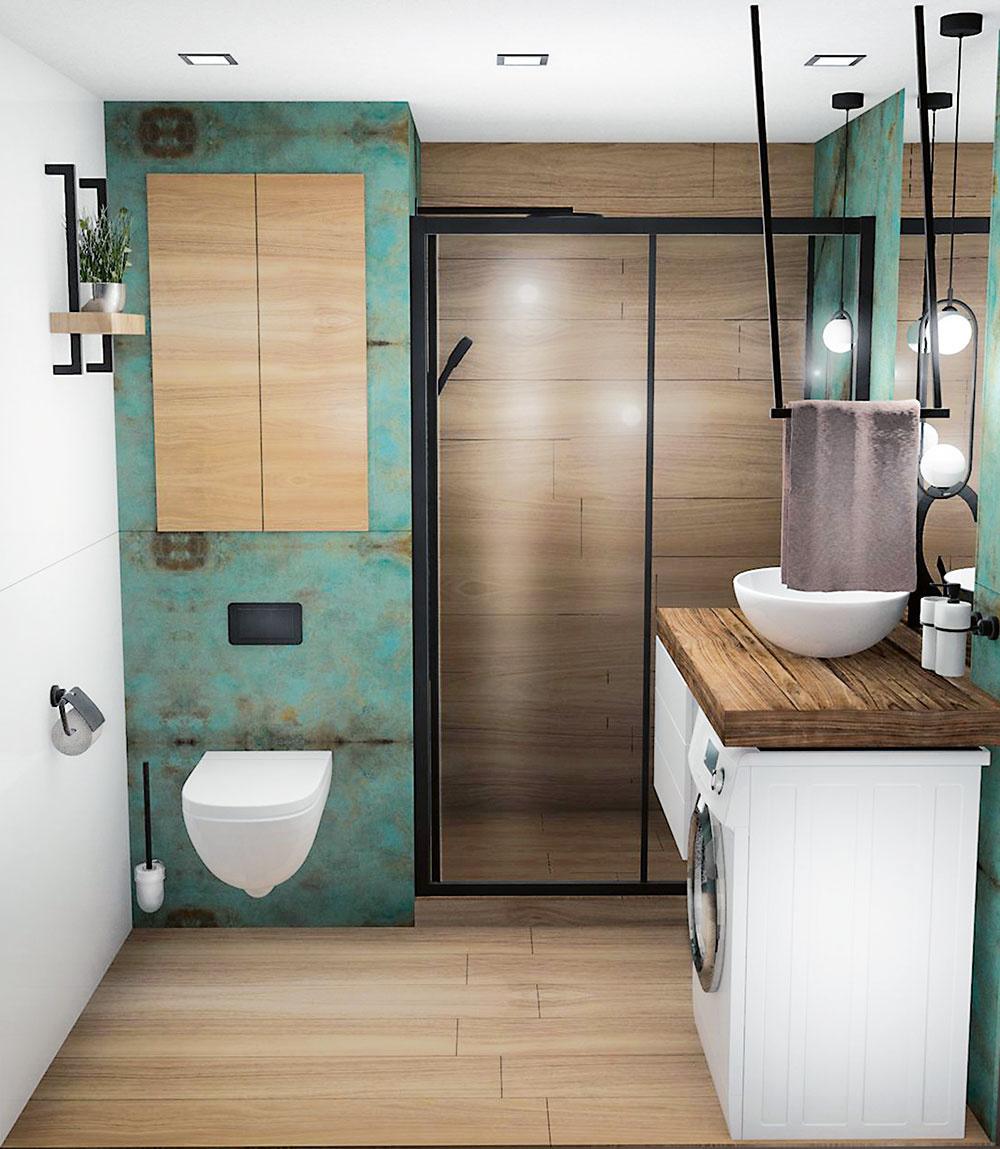 Protiklady sa priťahujú. Mäkké tóny dreva dizajnérka skombinovala s drsným kovovým efektom tyrkysových obkladov, vďaka čomu získala kúpeľňa surovejší mestský vzhľad.