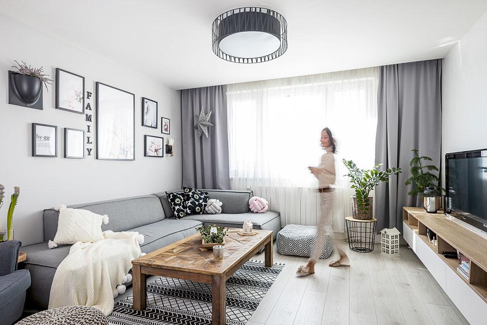 škandinávsky štýl obývačky