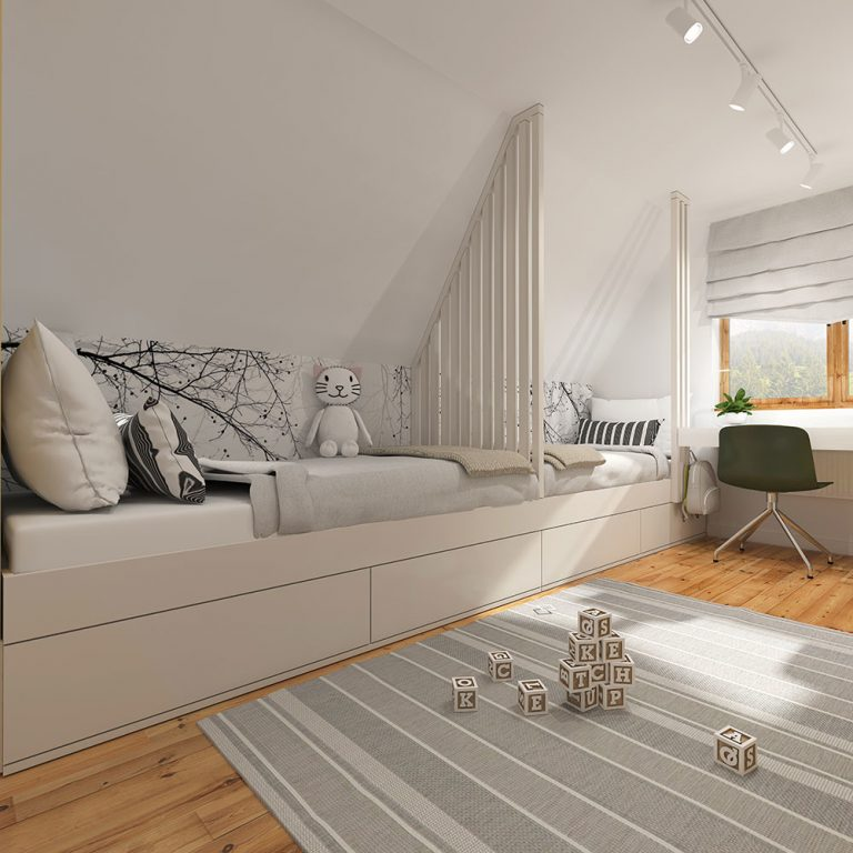 návrh interiéru podkrovia