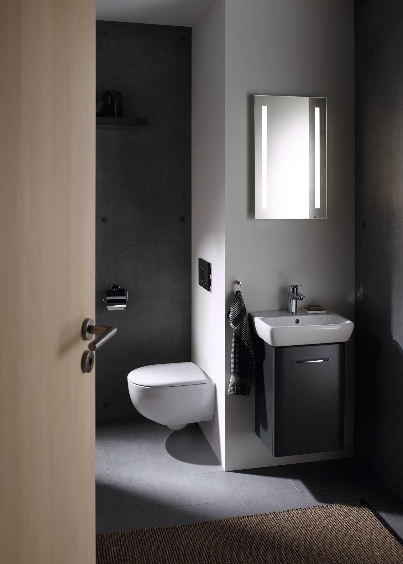 Priestorovo úsporné riešenia Geberit Selnova Compact sú ideálne do malých kúpeľní