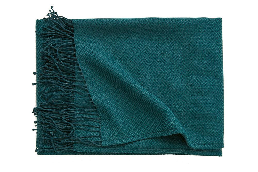 Tmavozelená žakárová deka, 130 × 170 cm, 19,99 €, H&M HOME