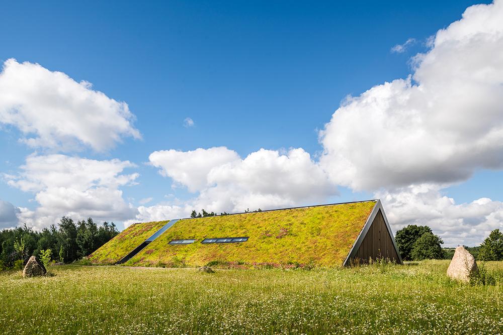 rodinný dom so zelenou strechou