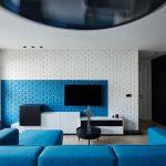 Modrú nájdete na stene obývačky, na sedacej súprave