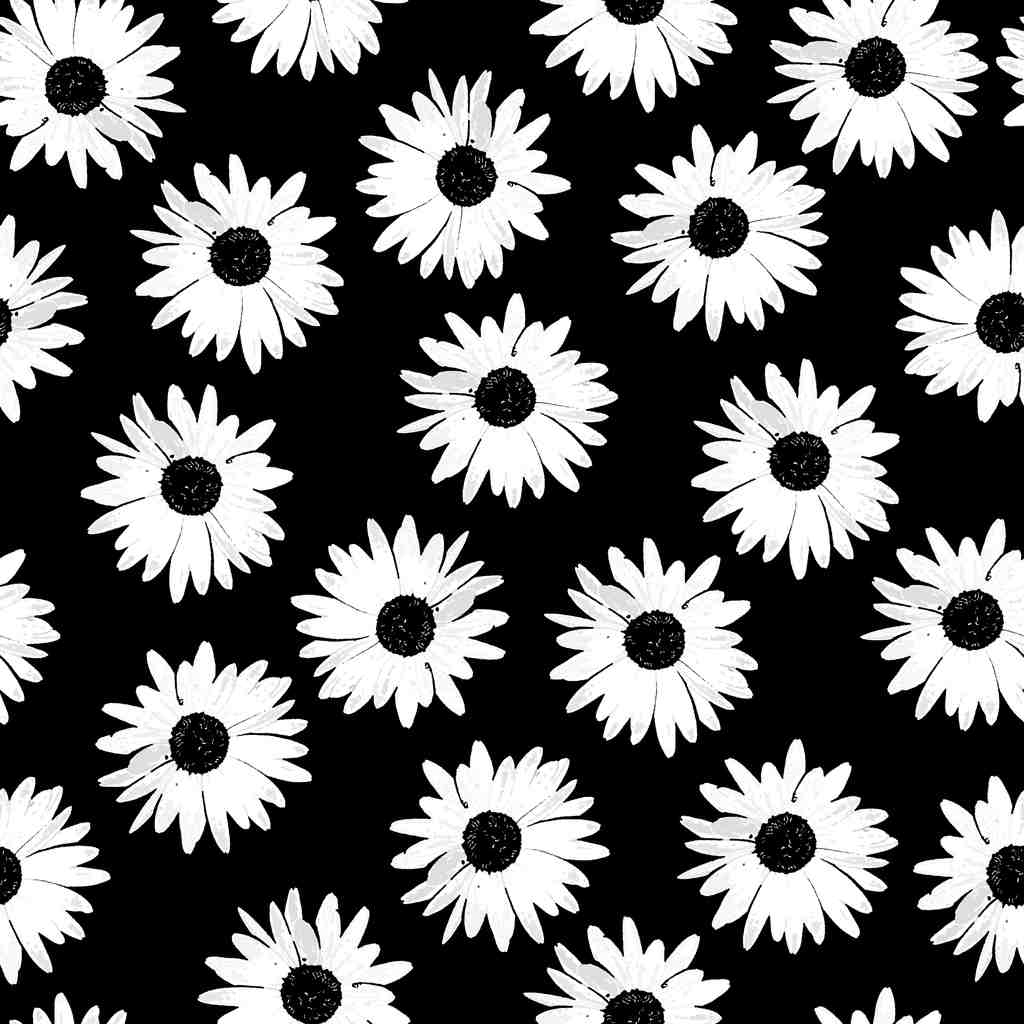 čiernobiela kuchynská tapeta s kvetmi