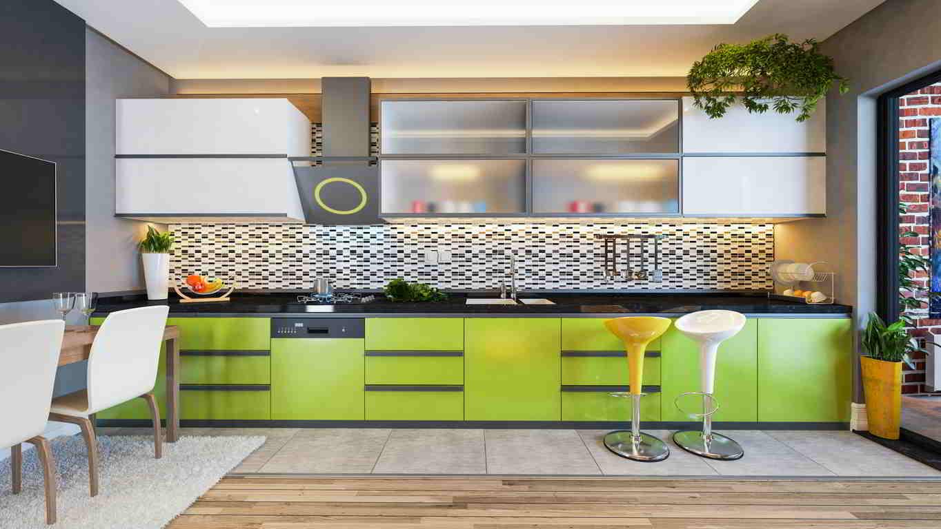kuchyňa sivozelená v kombinácii so vzorovým obkladom