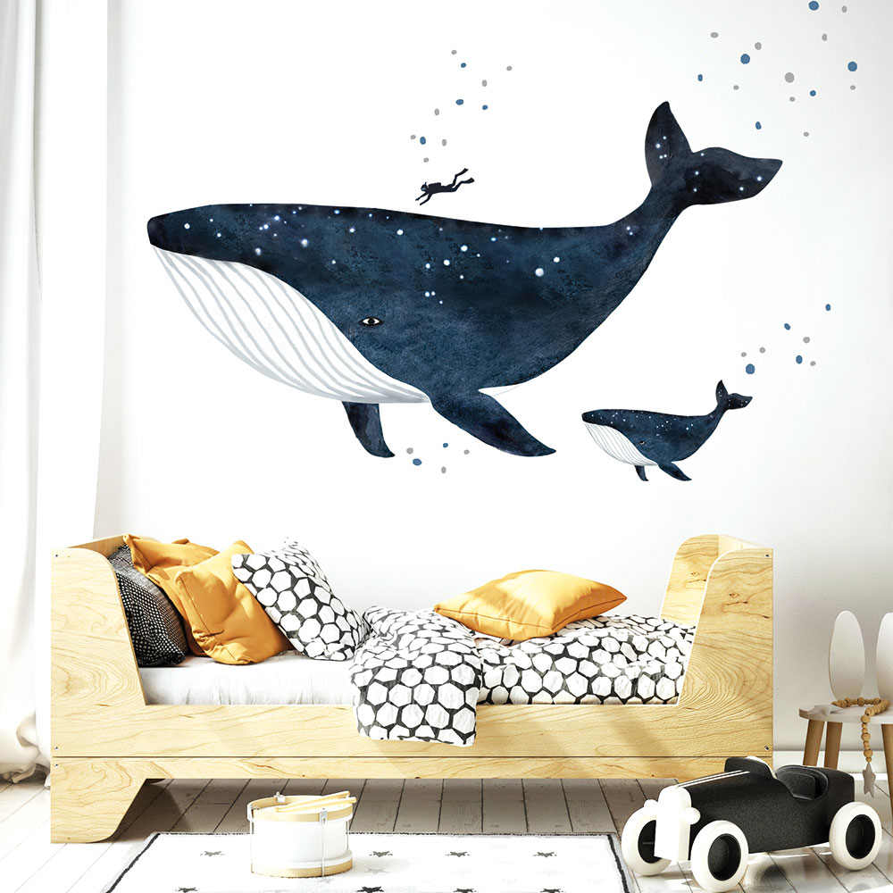 nálepky na stenu v tvare veľryby