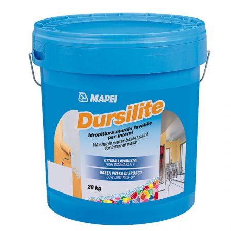 Finálna úprava: Dursilite je umývateľná farba (oteruvzdornosť za mokra viac ako 5 000 cyklov) určená na vnútorné steny, vyrobená na báze modifikovaných akrylových živíc vo vodnej disperzii. Má vysokú kryciu schopnosť, matný vzhľad a vysokú belosť.