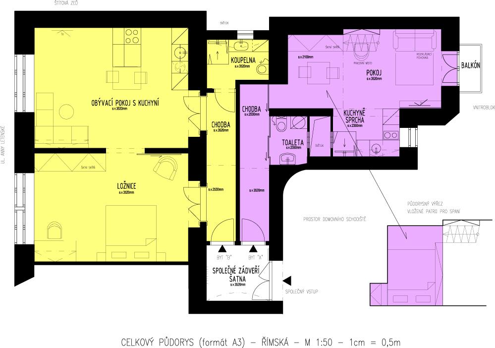 pôdorys dvojizbového bytu prerobeného na dva samostatné byty