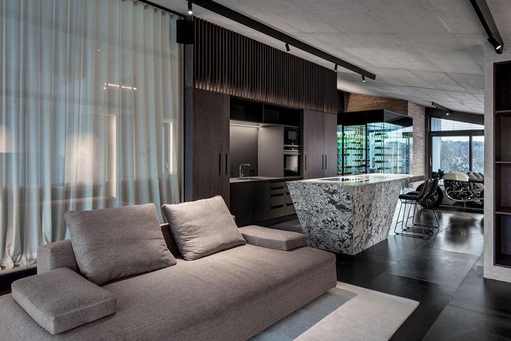 modulárna pohovka s kuchynským ostrovom