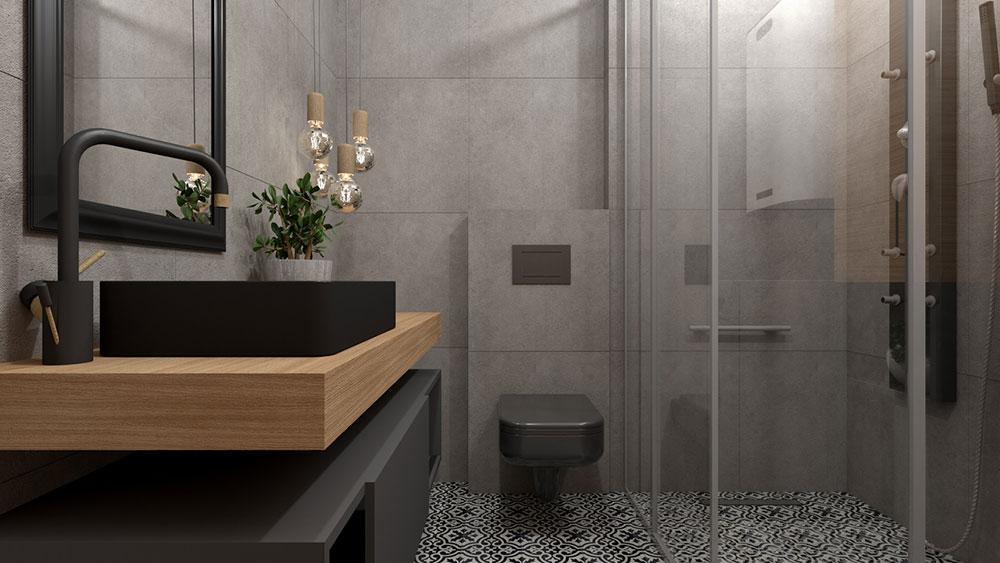 čierne umývadlo v sivej kúpeľni