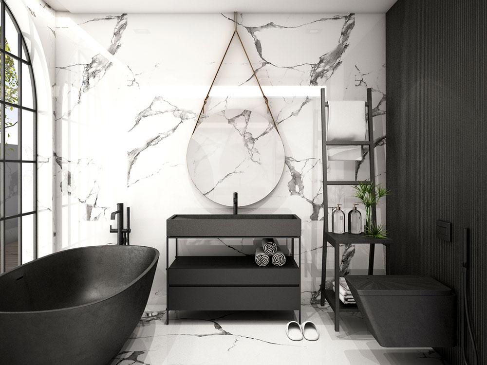 Ako použiť čiernu v kúpeľni, aby nepôsobila depresívne, ale luxusne
