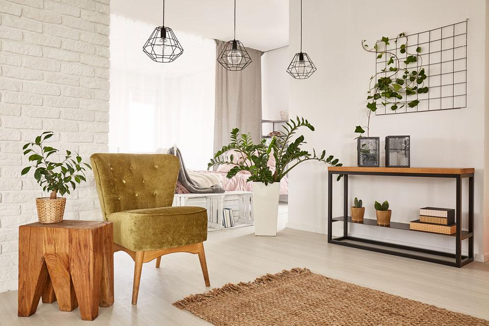 obývacia izba z prírodných materiálov