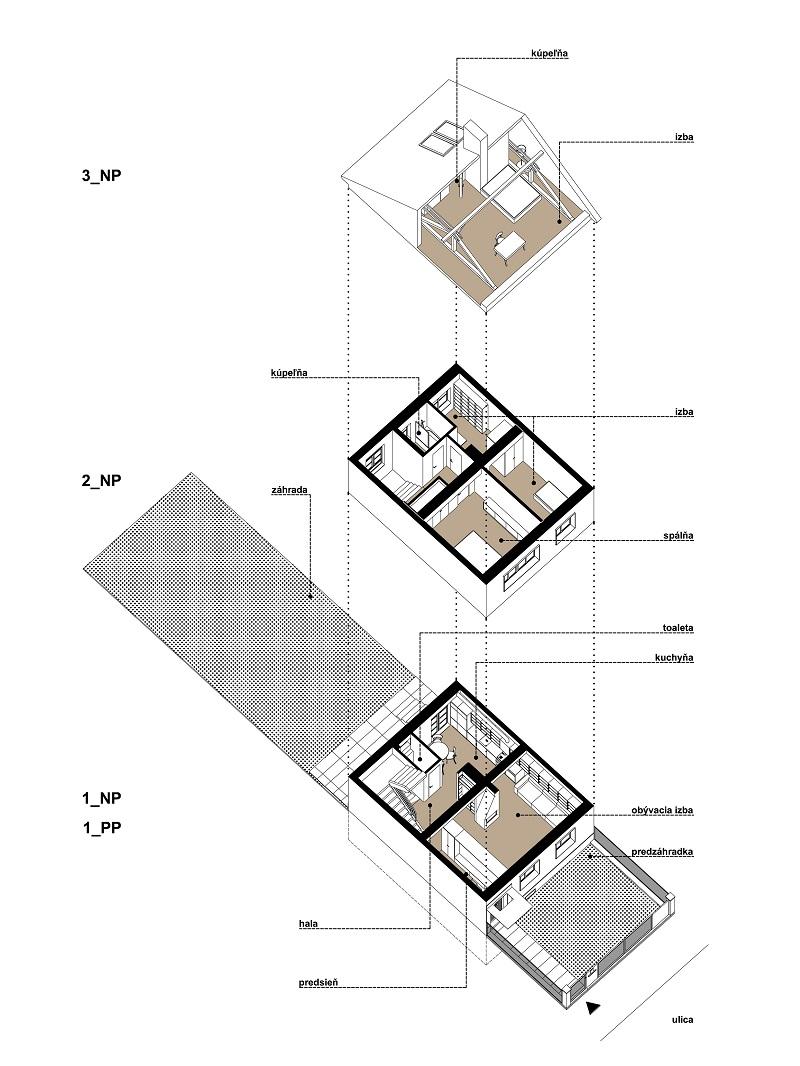 schéma dvojpodlažného domu v Novom Meste