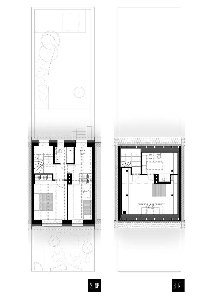 Pôdorys dvojpodlažného domu v Novom Meste