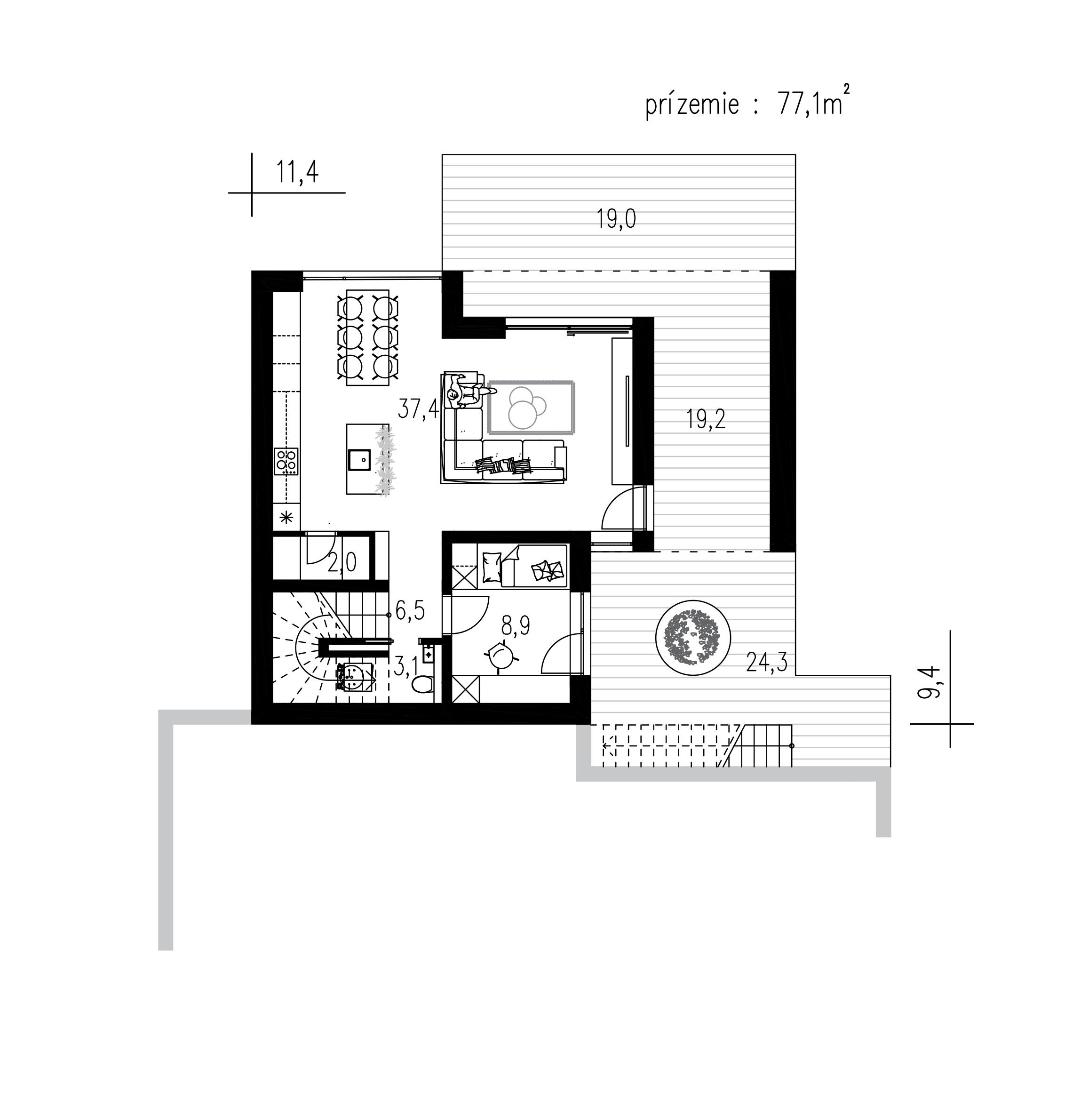 Pôdorys rodinného domu Poschodový 1903