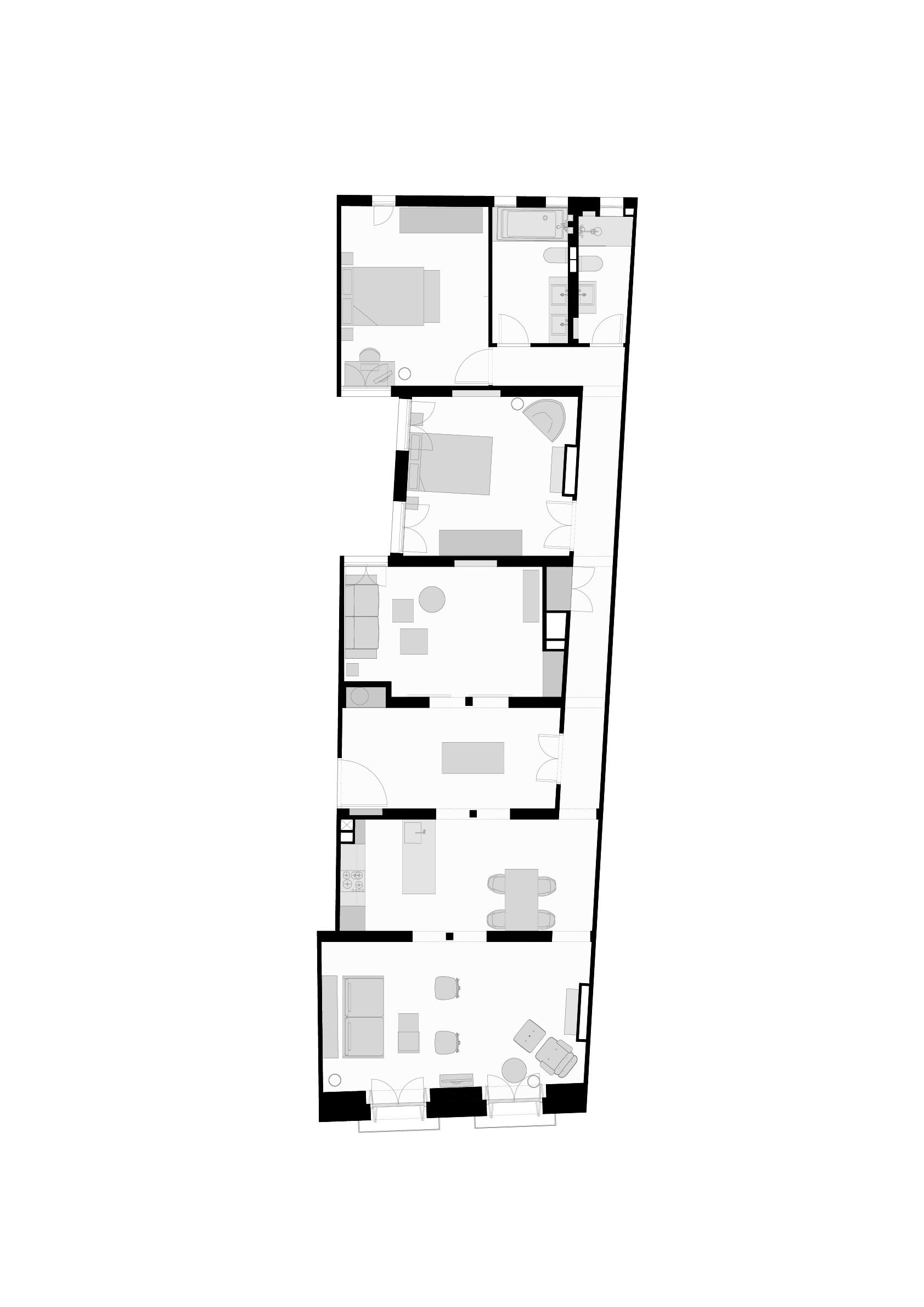 pôdorys madridského bytu