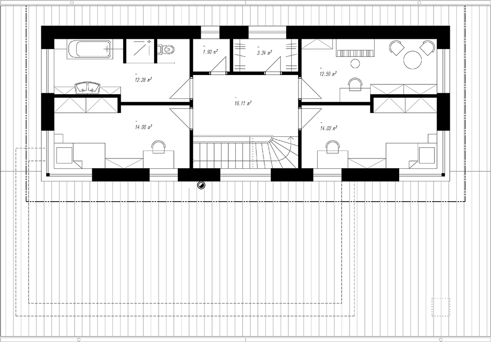 Pôdorys rodinného domu RM 169 podkrovie