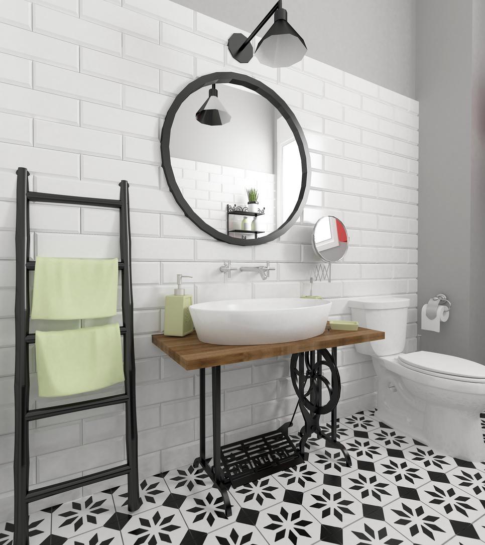 retro kúpeľňa so zrkadlom