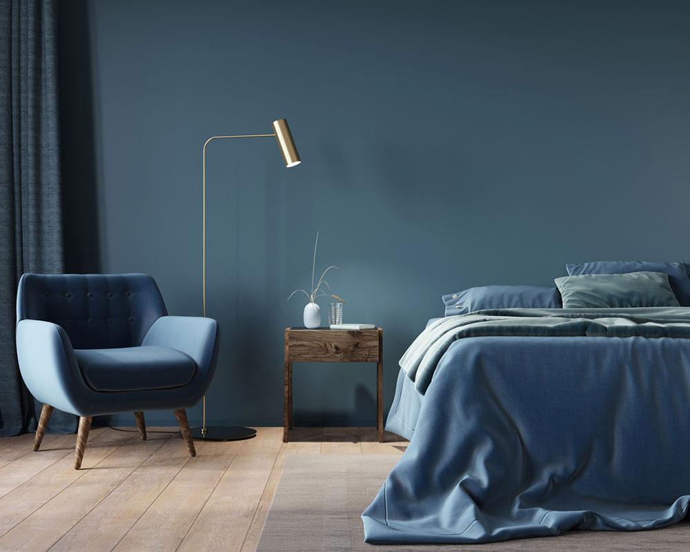 Závesy v spálni vo farbe steny