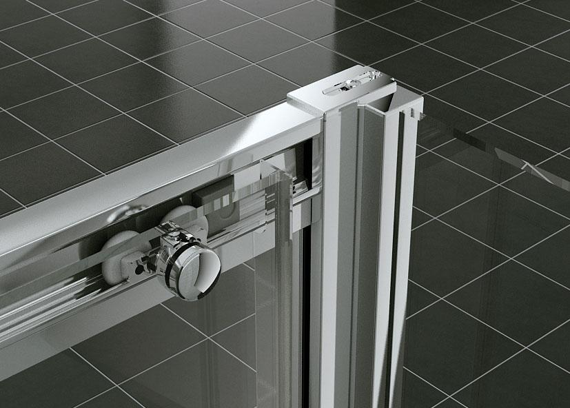 Zaklapávací systém spojenia dverí a bočnej steny