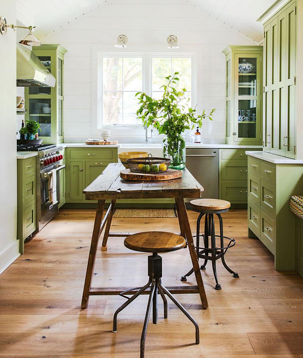 zelená kuchyňa vo vidieckom štýle