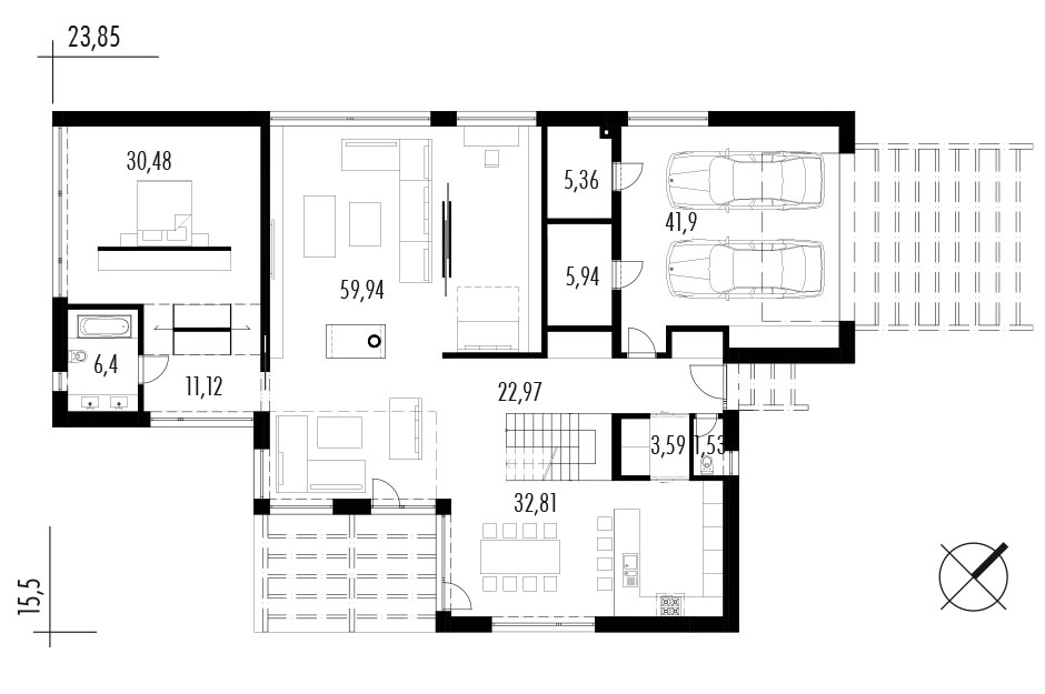 Projekt rodinného domu Black&White