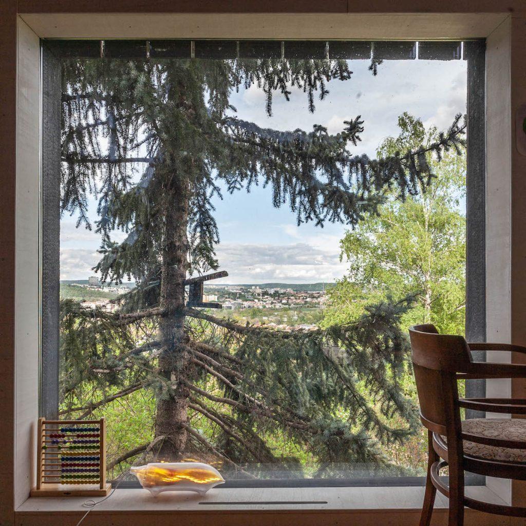 výhľad cez okno drevostavby