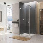 Sprchovací kút CADURA - jednokrídlové dvere s bočnou stenou v 90°. Vanička ILA.