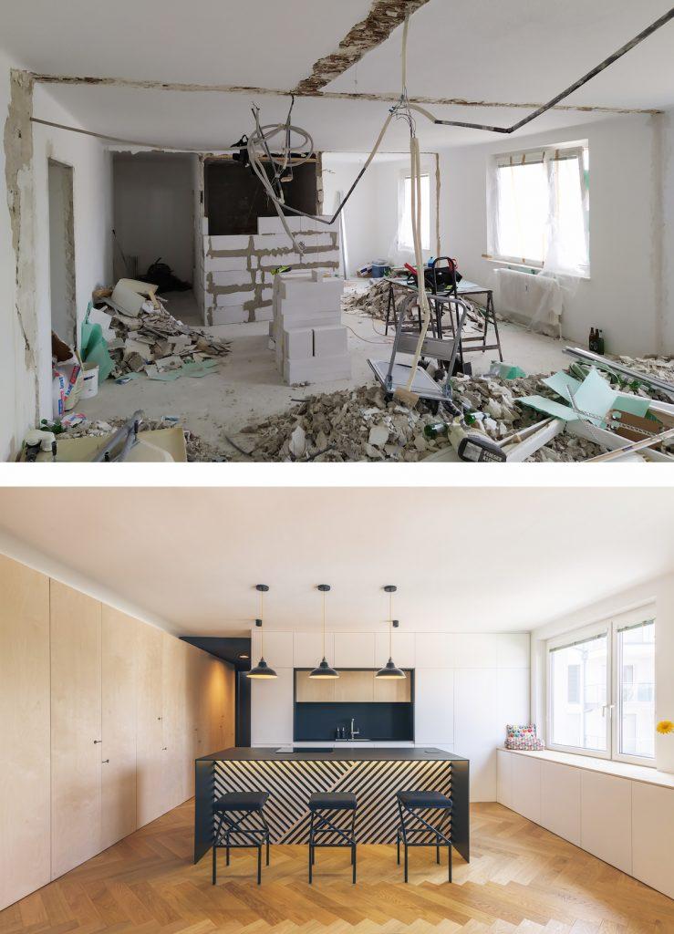 Kuchyňa pred a po rekonštrukcii