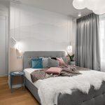 Sivá spálňa s dubovou podlahou