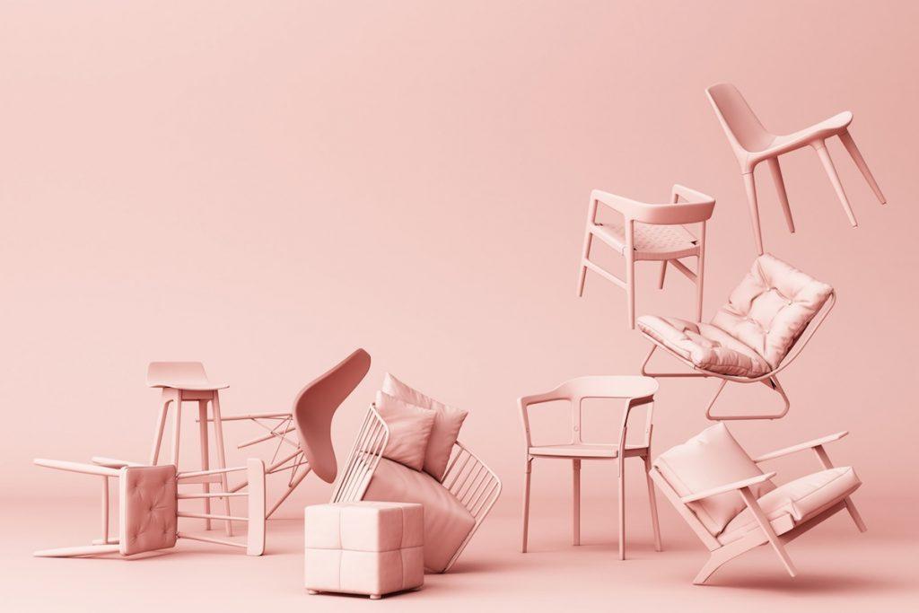 3D tapeta ružové stoličky