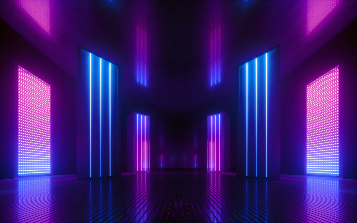 3d render, blue pink violet neon abstract background, ultraviolet light, night club empty room interior, tunnel or corridor, glowing panels, fashion podium, performance stage decorations,