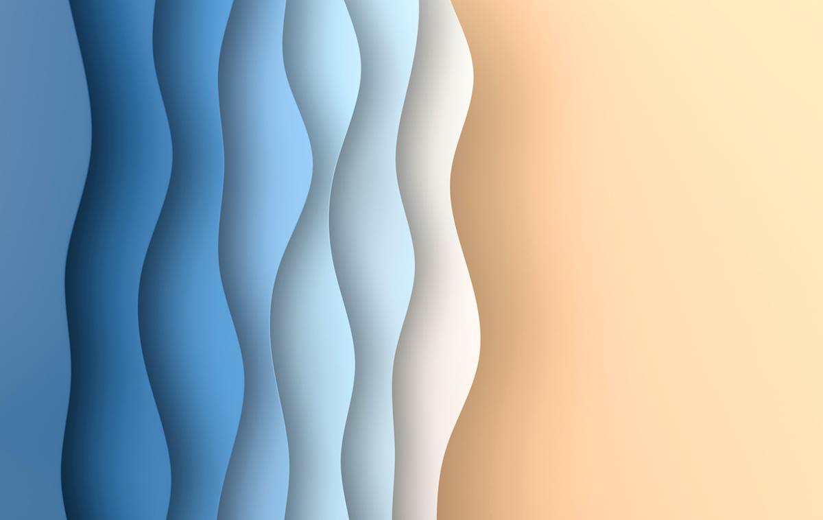 Blue paper art cartoon abstract waves, folds Paper carve background. Modern origami design template. 3d rendering illustration.