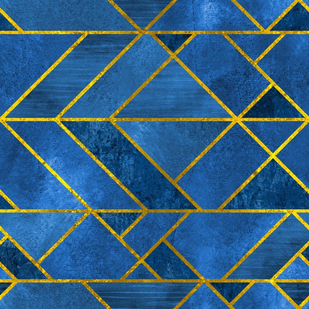 3D tapeta tvary modrá a zlatá