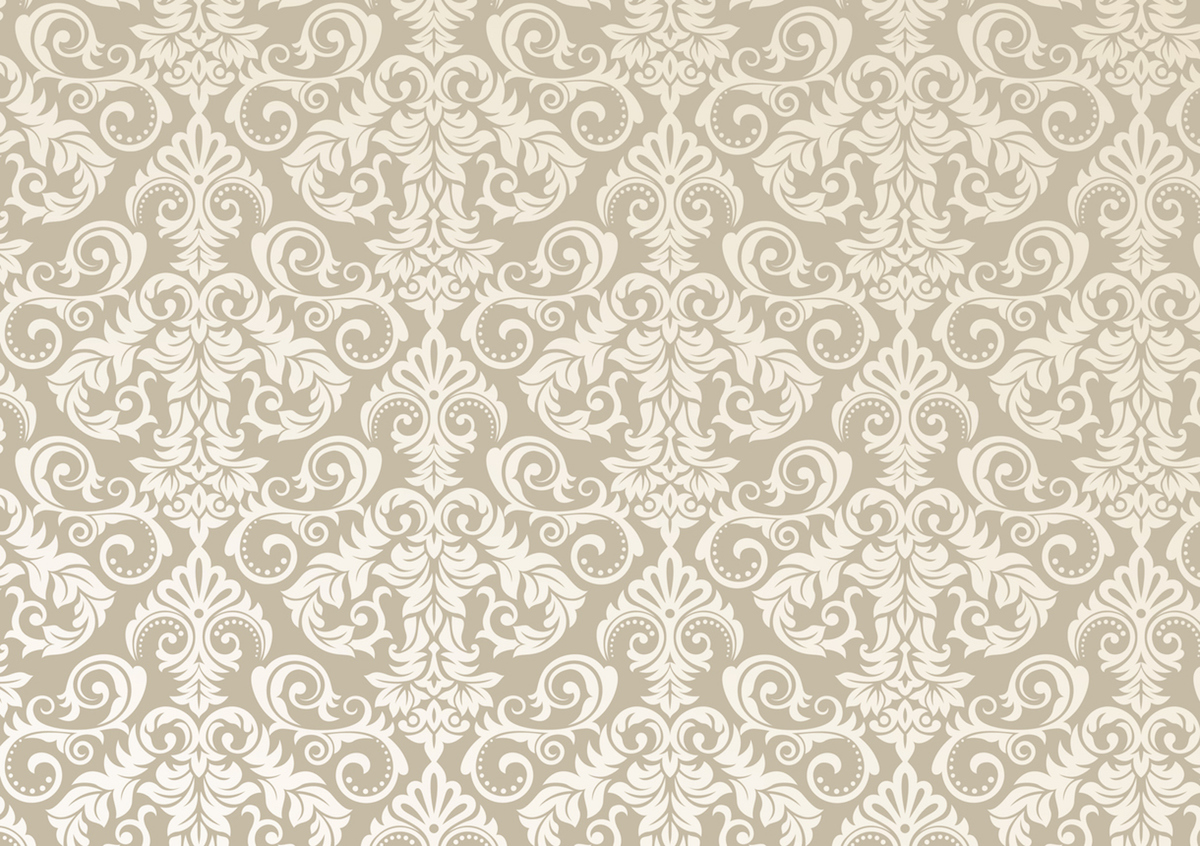 Beautiful damask pattern of brown and beige colors. Royal design with floral ornament.