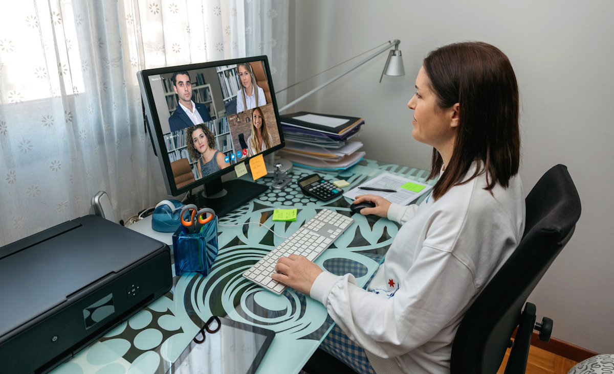Woman on video conference work meeting