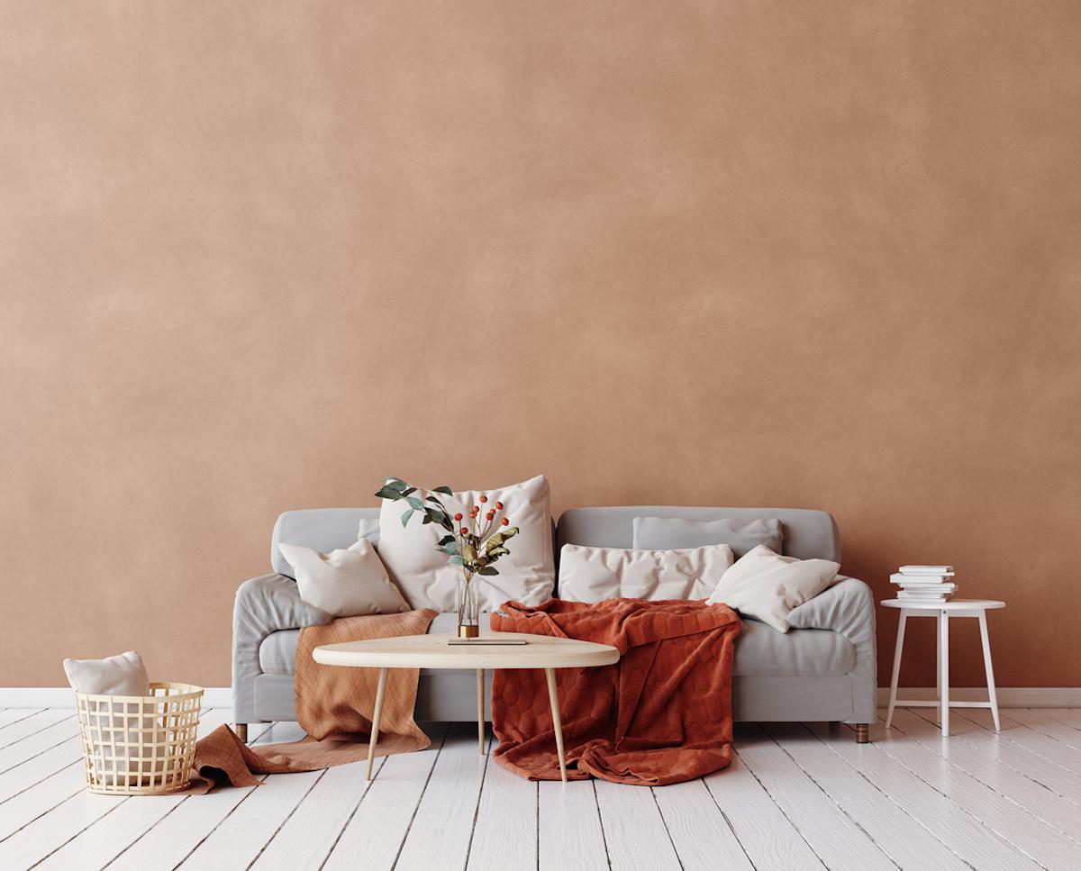 Cozy Scandinavian interior with sofa and minimal decor