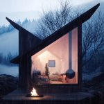 Horská chata s ohniskom a ženou